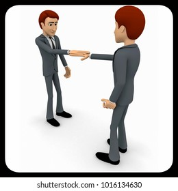 3d man doing shaking hand concept on white background,  side angle view