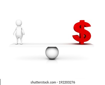 3d man and dollar currency symbol on balance scale. business concept 3d render illustration