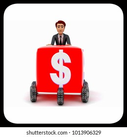 3d man draw box with wheel and dollar symbol on it concept on white background - 3d rendering , front angle view