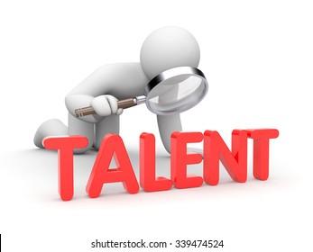 3d man examine word Talent
