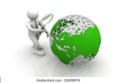 3d man examine the world