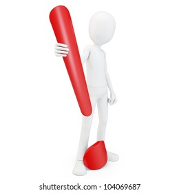 3d man exclamation point on white background