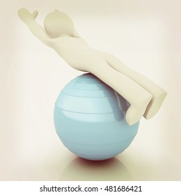 3d man exercising position on fitness ball. My biggest pilates series. 3D illustration. Vintage style.