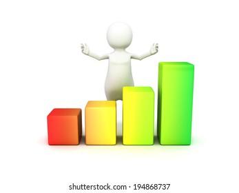 3d man with financial graph. business success concept 3d render illustration