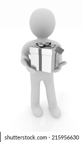 3d man and gift with ribbon on a white background