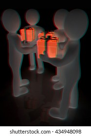 3d man gives gift on a black background. 3D illustration. Anaglyph. View with red/cyan glasses to see in 3D.