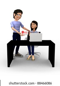 3D Man giving an online gift card to his girlfriend - isolated