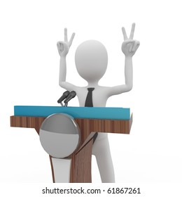 3d man giving speech with tribune isolated on white