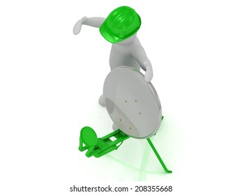 3d man in an green helmet adjusts the green satellite dish on a white background