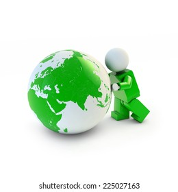 3d man in green suit pushing green eco earth, 3d illustration, Europe