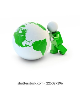 3d man in green suit pushing green eco earth, America