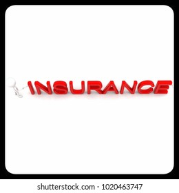 3d man handshaking with insurance character text concept in white isolated background - 3d rendering ,  top angle view