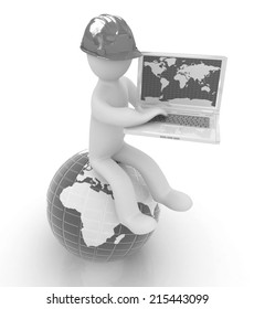 3d man in a hard hat sitting on earth and working at his laptop on a white background
