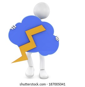 3D man having a bad day holding a dark cloud and ray isolated over a white background