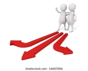 3d man help to make choice for partner on arrow ways