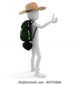 3d man hitcher tourist with a backpack on white background