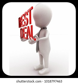 3d man holding best deal text in hands  concept in white isolated background , side angle view