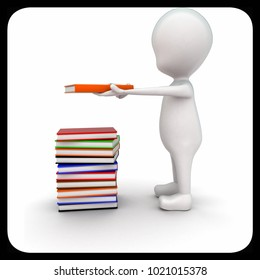 3d man holding a book in hand with pile of books near concept on white background - 3d rendering , side  angle view
