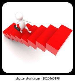 3d man holding briefcase and walking on stairs concept in white isolated background - 3d rendering , top angle view