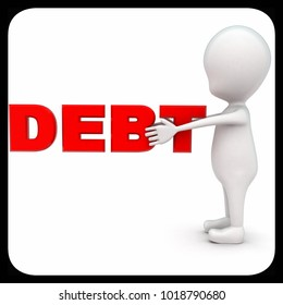 3d man holding debt red text in hand concept on white background - 3d rendering , front angle view