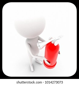 3d man holding fire extinguisher concept on white isolated background , top angle view