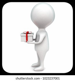 3d man holding   gift in hands concept in white isolated background -rendering ,  side angle view