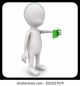 3d man holding green color card in hand concept on white bakcground, top angle view