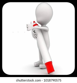 3d man holding marker concept on white isolated background - 3d rendering , side angle view
