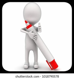 3d man holding marker concept on white isolated background - 3d rendering , front angle view