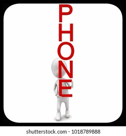 3d man holding phone text concept in white isolated background , front angle view
