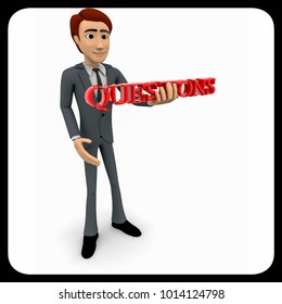 3d man holding questions text in hand concept on white background, side angle view
