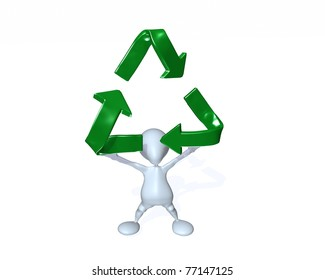 A 3d man holding up a recycle symbol.