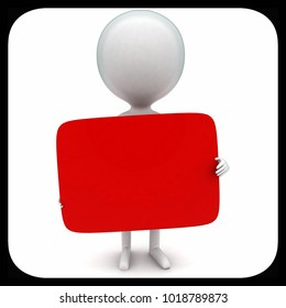 3d man holding red boad in hands concept in white isolated background - 3d rendering ,  front angle view