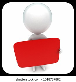 3d man holding red boad in hands concept in white isolated background - 3d rendering ,  top angle view