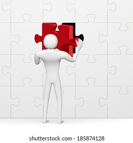 3d man inserting red missing piece in grey vertical puzzle isolated on white close-up