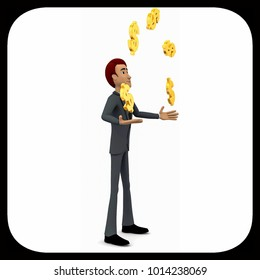 3d man juggling with dollar sign concept on white background - 3d rendering , side angle view