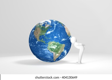 3D man kisses Earth - North and south America version
