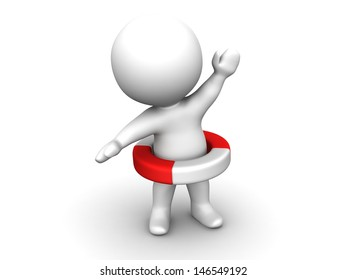 3D Man with Life Buoy around him and one raised arm - Safety Concept - Help Concept
