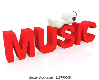 3D man listening to music - isolated over a white background