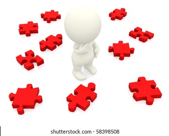 3D man making a decision with puzzle pieces isolated over white
