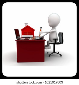 3d man making home plan on laptop with small model of house on talbe concept on white background, side angle view