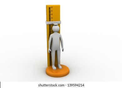 3d man measuring his height.
