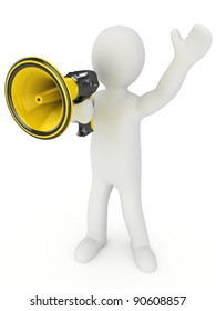 3d man with a megaphone in a hand. 3d image. Isolated white background.