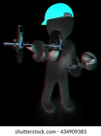 3d man with metal dumbbells on a black background. 3D illustration. Anaglyph. View with red/cyan glasses to see in 3D.