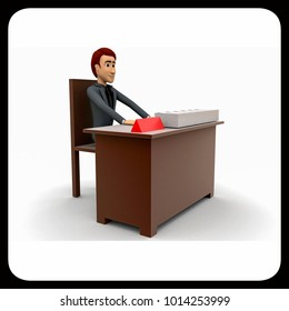 3d man on table concept on white background - 3d rendering , side angle view