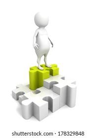 3d man on the top of success puzzle pie chart. achievement career concept
