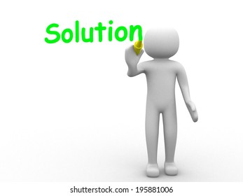3d man - person pointing a Solution concept