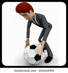 3d man pick up football concept on white background,  side  angle view