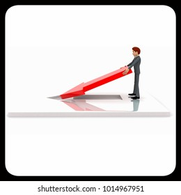3d man placing and fixing red arrow on  floor concept on white background, side angle view