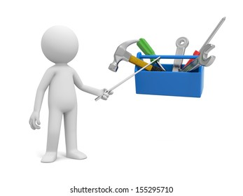 A 3d man pointing at the tools in the toolbox